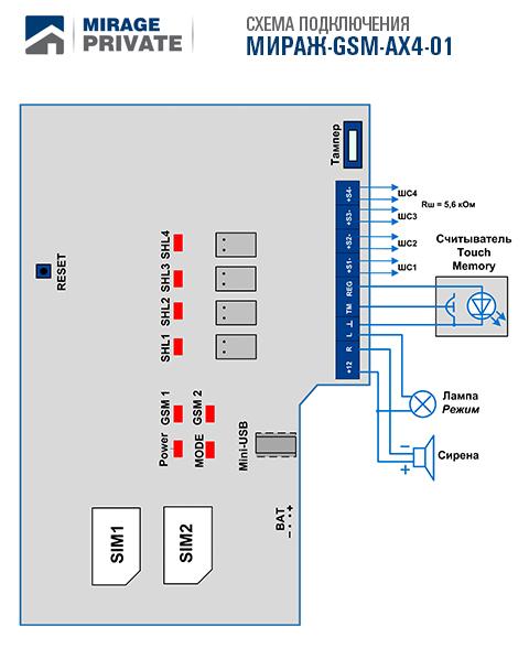 Мираж-GSM-AX4-01 версия 1.0